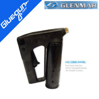 Bulk hot melt hand gun for swirl spray