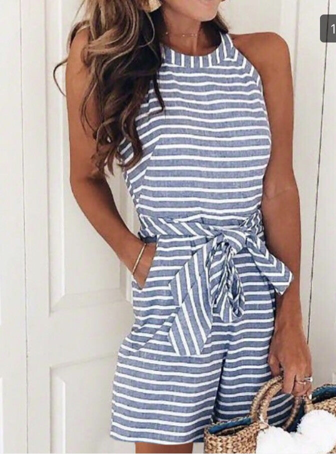 Striped Cutie Shorts Romper - Light Navy