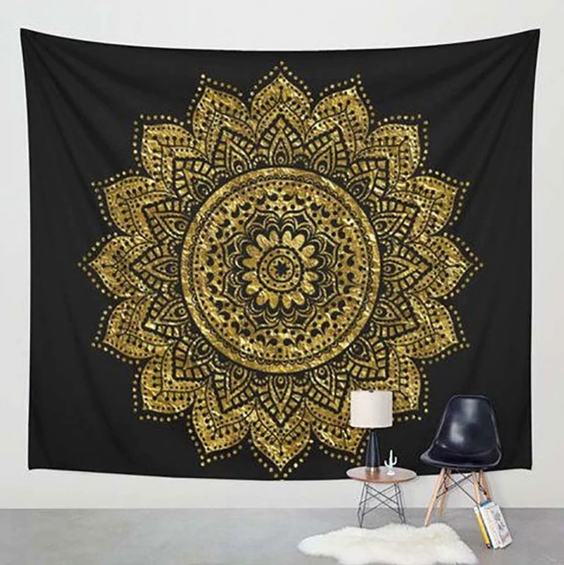 Gold on Black Classic Tapestry