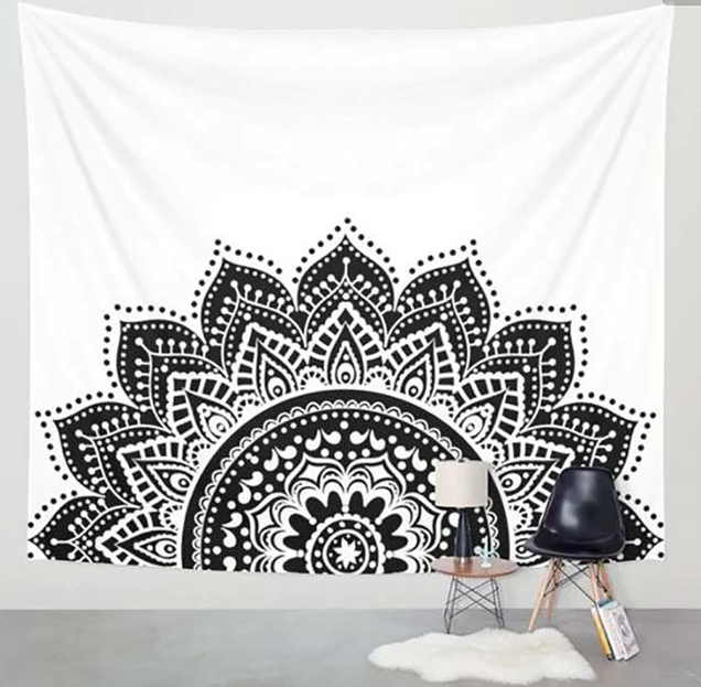 Black on White Classic Semi Tapestry