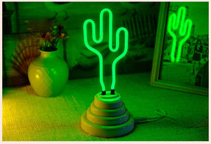Cactus Neon Sign With Base