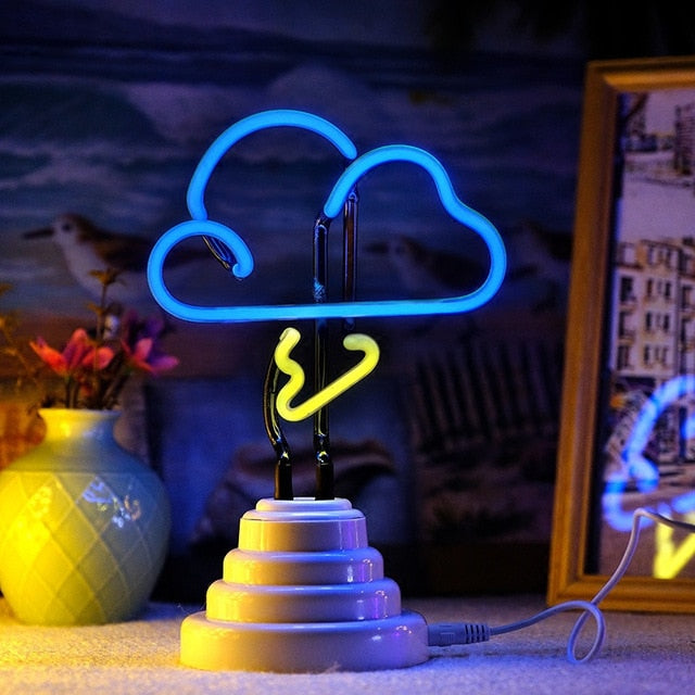 Storm Cloud Neon Sign With Base