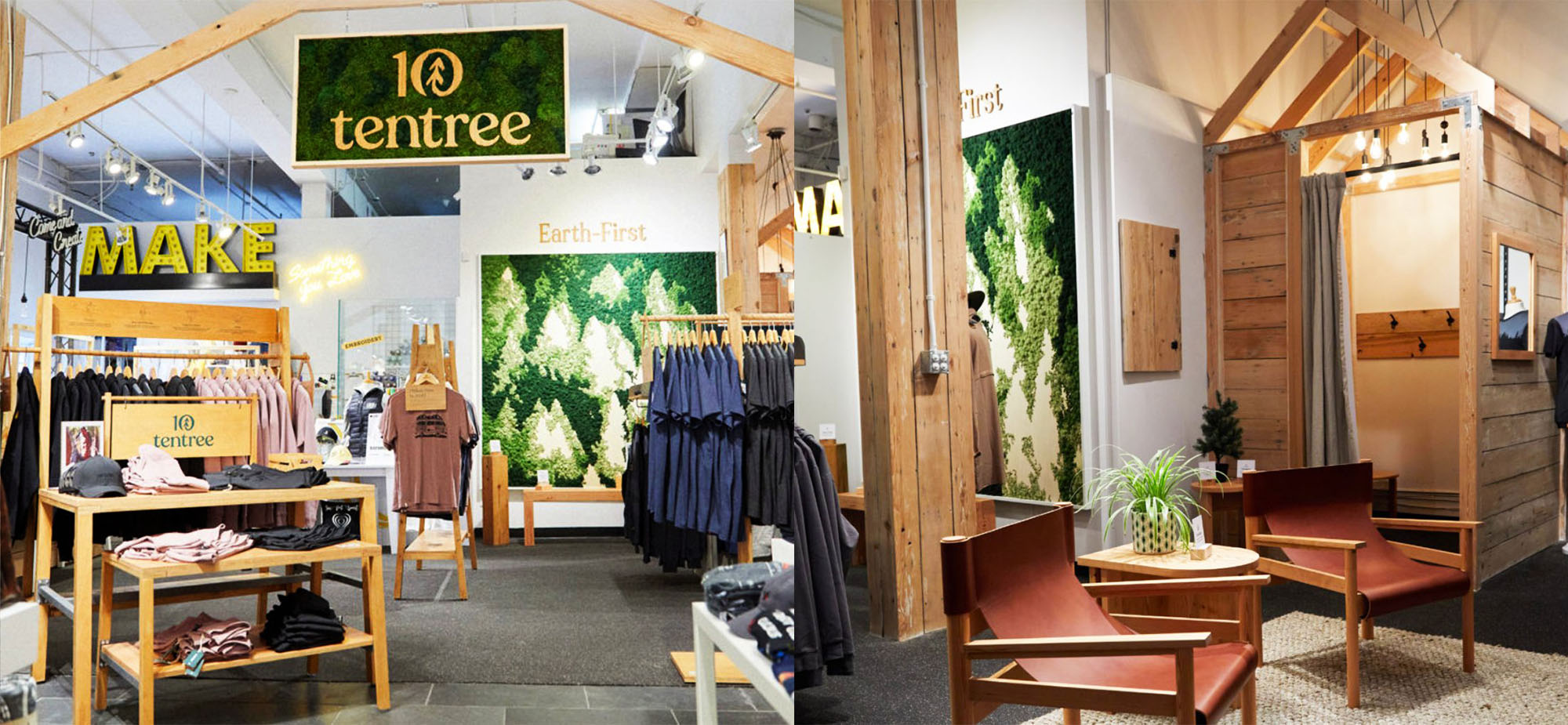MAKE houses the first retail location of Tentree apparel