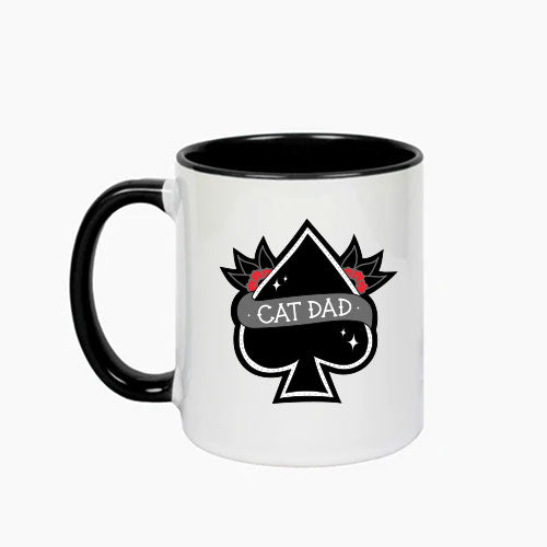CAT DAD - WHITE MUG WITH BLACK INNER BY ANGIE Q COATES