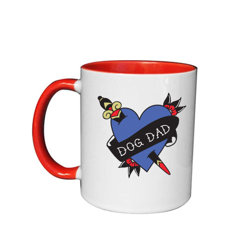 DOG DAD - WHITE MUG WITH RED INNER BY ANGIE Q COATES