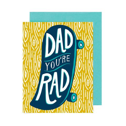 Badge Bomb Greeting Card - Dad You're Rad Skateboard