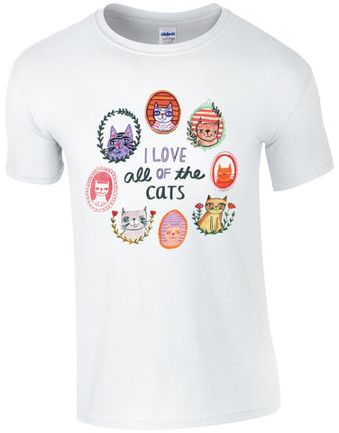 I Love All of the Cats Make Original White T-shirt Mens