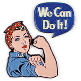 Rosie and We Can Do it Enamel Pin Set