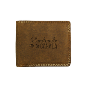 Canadian leather wallet by Adrian Klis with custom engraving