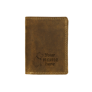 Canadian leather wallet by Adrian Klis with custom engraving on front