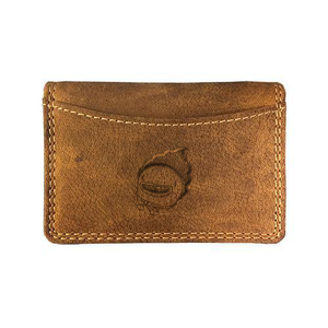 Canadian leather Adrian Klis business card holder with custom engraving