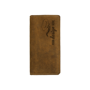 Canadian leather Adrian Klis narrow wallet with custom engraving