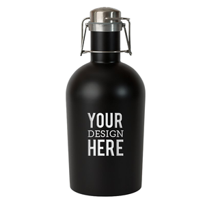 Black beer growler with custom engraving