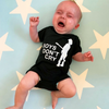 Black custom printed baby onesie for newborn with printed artwork
