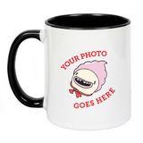 Custom printed coffee mug with black inner and custom graphic reading Your Photo Goes Here