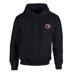 Custom embroidered black hoodie with embroidered monogram initials