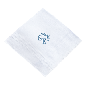 Custom embroidered handkerchief with custom embroidered initials