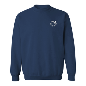 Custom monogrammed navy sweatshirt with embroidered initials