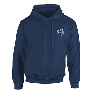 Custom embroidered navy hoodie with custom embroidered initials on front