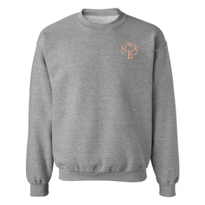 Custom embroidered grey sweatshirt with custom embroidered initial on front