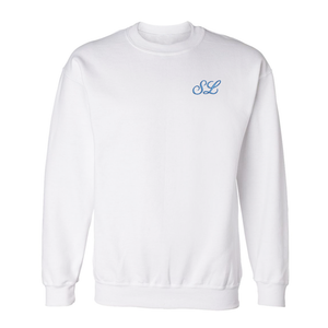 Custom embroidered white sweatshirt with custom initials embroidered on front