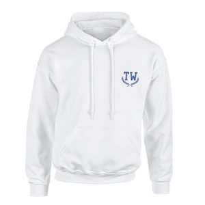 Custom embroidered white hoodie sweatshirt with embroidered monogram initials on front