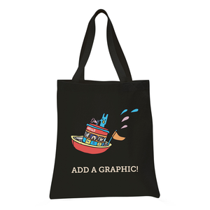 Custom black tote bag with custom graphic printed on front