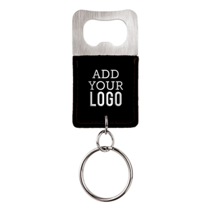 Custom Engraved Vegan Leather Bottle Opener Keychain - Black (Silver Under)