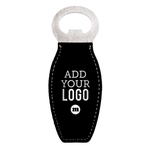 Custom Engraved Vegan Leather Bottle Opener Magnet in Black with Silver Under