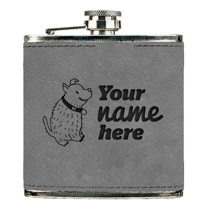 Custom Engraved Vegan Leather 6oz Flask
