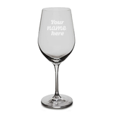 Custom engraved wine glass reading 'Your name here'