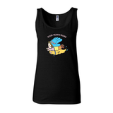 Custom printed women's black tank top featuring custom graphic printed on front