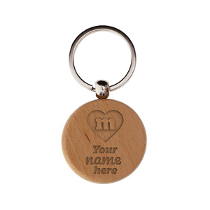 Custom engraved wood circle keychain