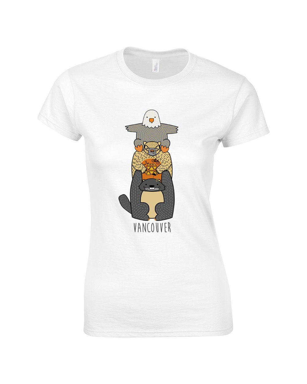 Cute Critter Vancouver Totem Make Original White T-Shirt Womens