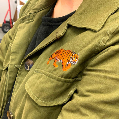 Embroidered Tiger on a Jacket