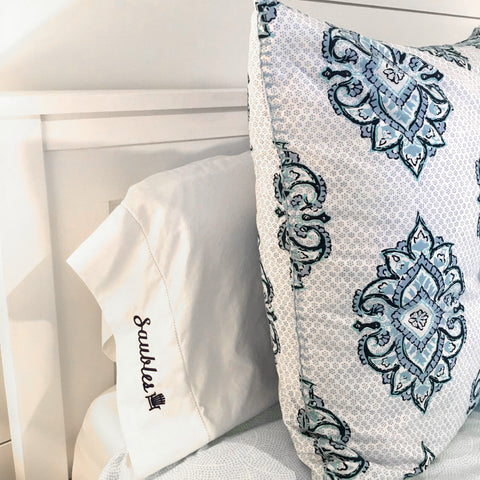 Custom Embroidered Sail Boat Pillow