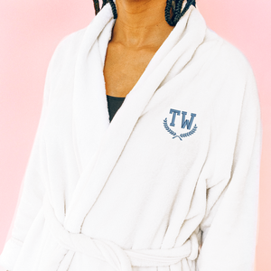 Custom embroidered bath robe with custom embroidered initials