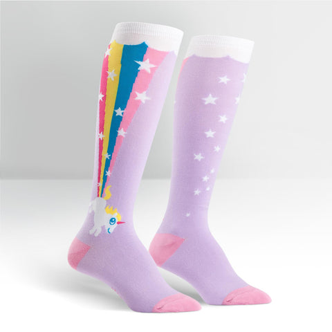 Womens High Knee Socks - Rainbow Blast