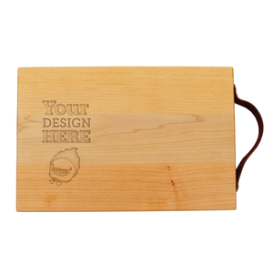 Large maple serving board with leather strap and custom engraved graphic