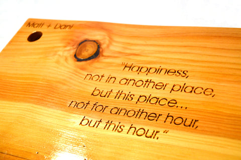 Happiness Quote on a Beautiful Cutting Board