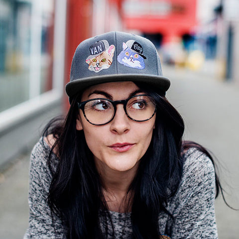 Van City Loves Kitties Make Original Grey Snapback Cap