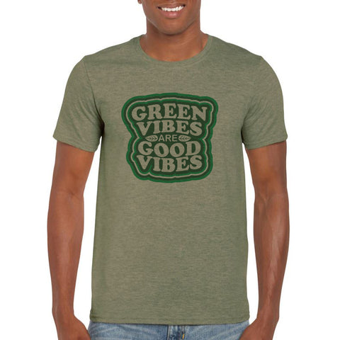 Green Vibes are Good Vibes Make Original Heather Military Green T-Shirt Mens