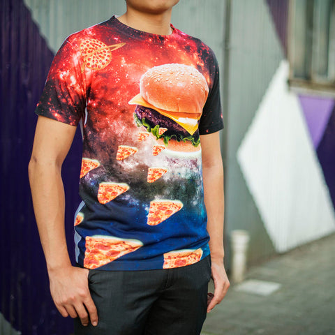 Custom Burger Spaceship Mighty Print Shirt