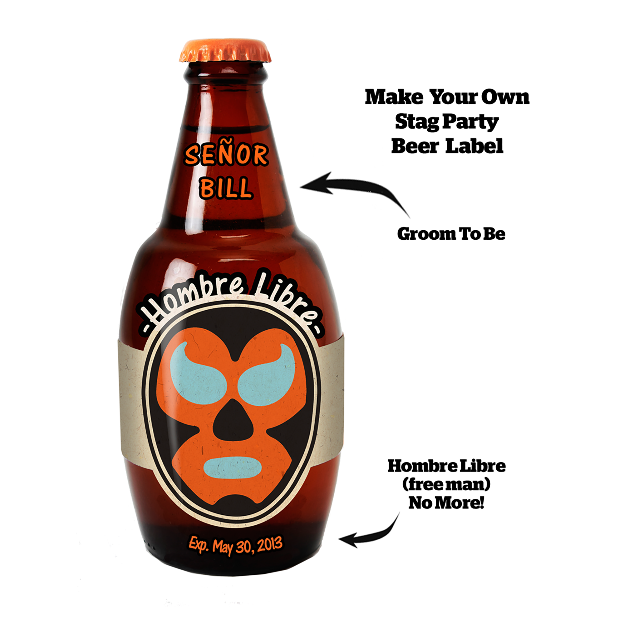 Hombre Libre - Personalize this Beer Label for a Digitally Printed T-shirt