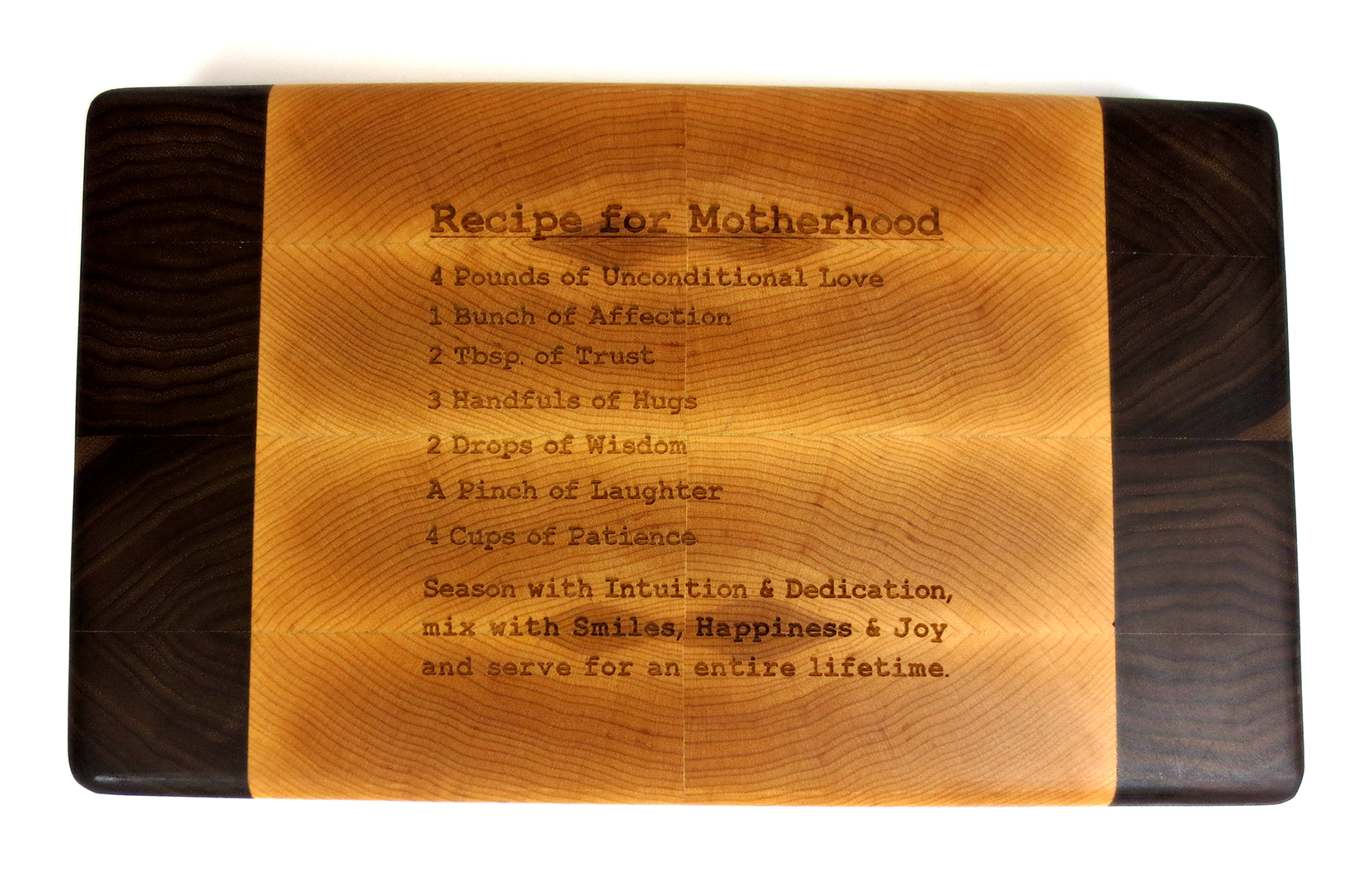 Recipe For Motherhood Engraved Cutting Board