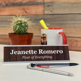 Custom engraved desk name plate with woman's name and title