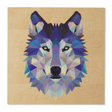 Reclaimed Print 7x7 Birch Art - Geometric Wolf