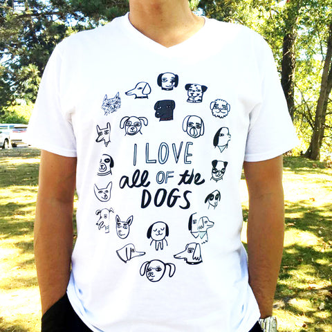 I Love All of the Dogs Make Original White T-shirt Mens
