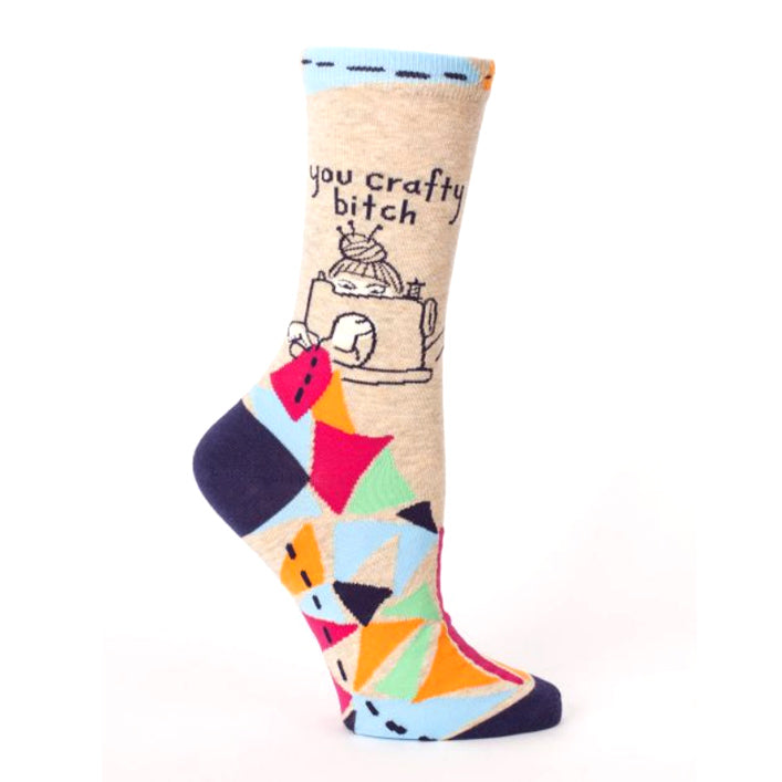 Womens Crew Socks - You Crafty Bitch