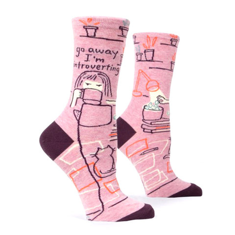 Womens Crew Socks - Go Away Introverting